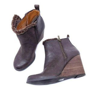 Lucky Brand Yorque Brown Leather Faux Fur Boots